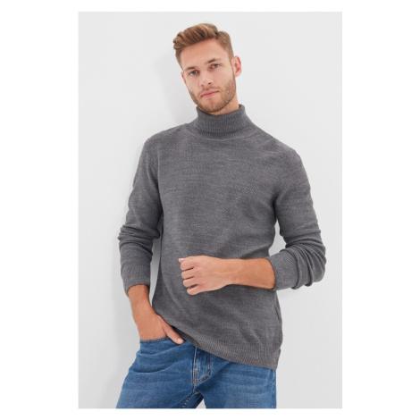 Trendyol Gray Men's Turtleneck Slim Fit Knitwear Sweater