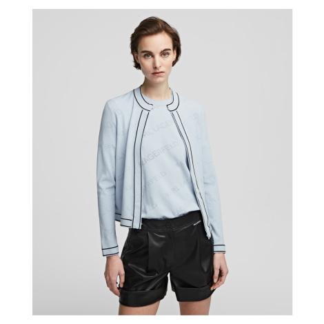 Svetr Karl Lagerfeld All-Over Logo Cardigan - Modrá