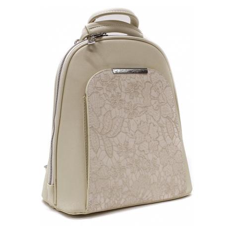 Béžový pevný dámský módní batůžek Kairi Mahel