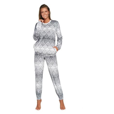 Dámské pyžamo Snow bílé s šedými vločkami Italian Fashion