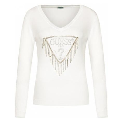 Guess GUESS dámský bílý svetr s třásněmi