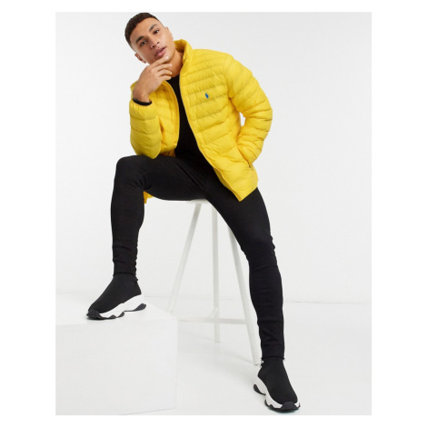 Polo Ralph Lauren player logo recycled nylon puffer jacket in yellow