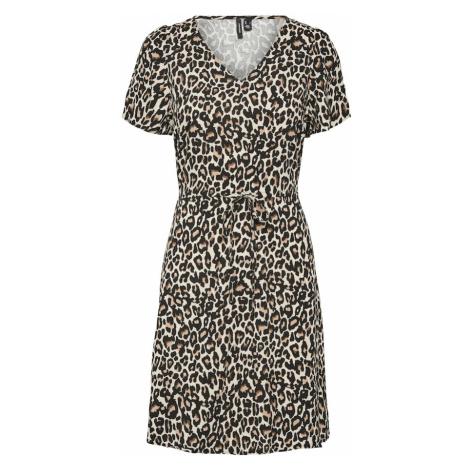 VERO MODA Šaty 'Simply Easy' světle béžová / hnědá / bílá / antracitová