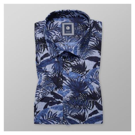 Pánská košile Slim Fit s tmavě modrým rostlinným potiskem 11884