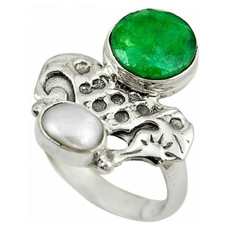 AutorskeSperky.com - Stříbrný prsten se smaragdem a perlou - S2831