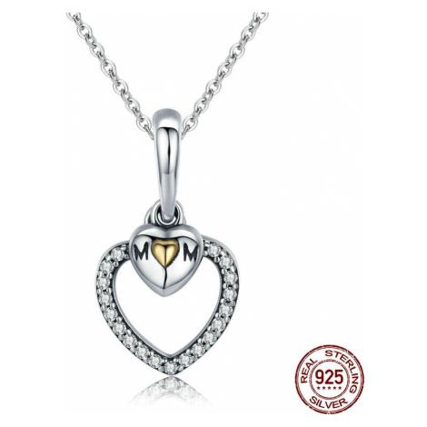 """Náhrdelník ze stříbra Třpytivé srdce s nápisem """"mom""""""""máma"""""""