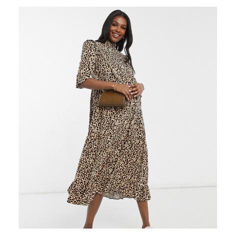 New Look Maternity frill detail midi dress in animal print-Brown
