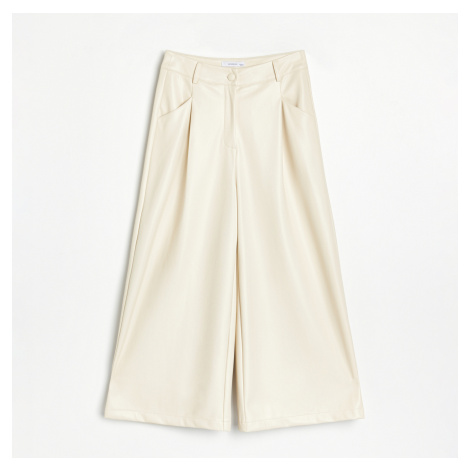 Reserved - Koženkové kalhoty culottes - Krémová