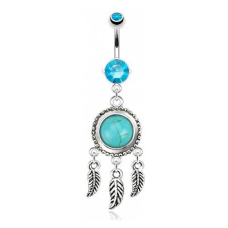 Ocelový piercing do břicha, lapač snů s tyrkysovým kamínkem, pírka Šperky eshop