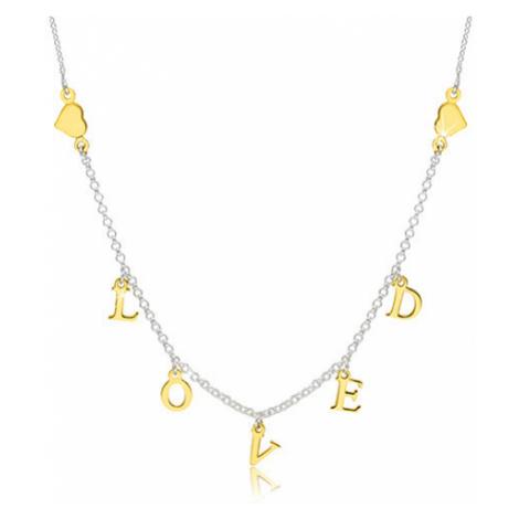 """Stříbrný 925 náhrdelník - lesklá srdíčka a nápis """"LOVED"""" ve zlatém odstínu Šperky eshop"""