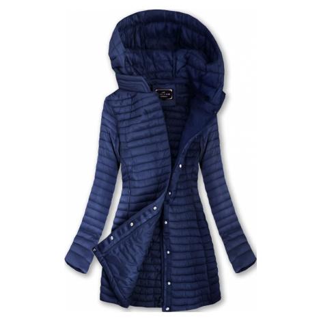 Tmavě modrá delší prošívaná bunda s kapucí (7222BIG) LIBLAND