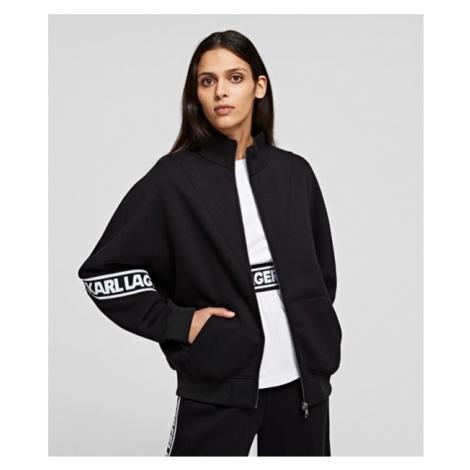 Mikina Karl Lagerfeld Logo Tape Zip-Up Sweatshirt - Černá