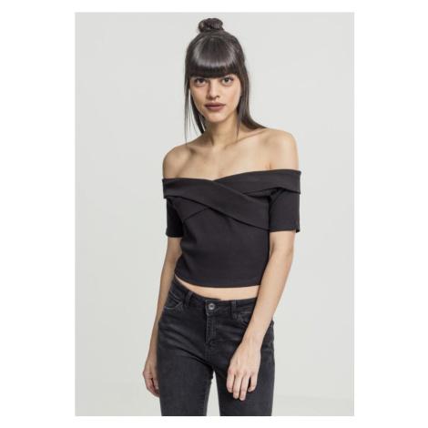 Ladies Off Shoulder Cross Rib Tee - black Urban Classics