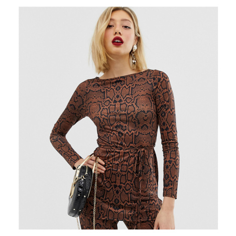 River Island Petite tunic with belt in snake print-Brown