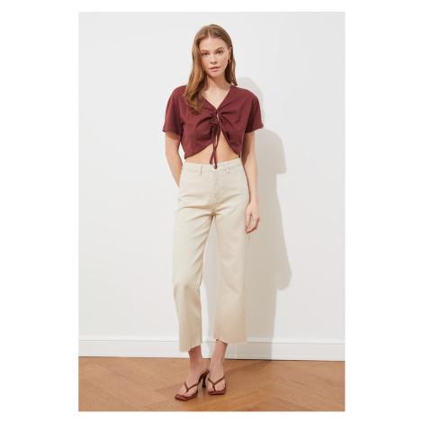 Trendyol Beige High Waist Culotte Jeans