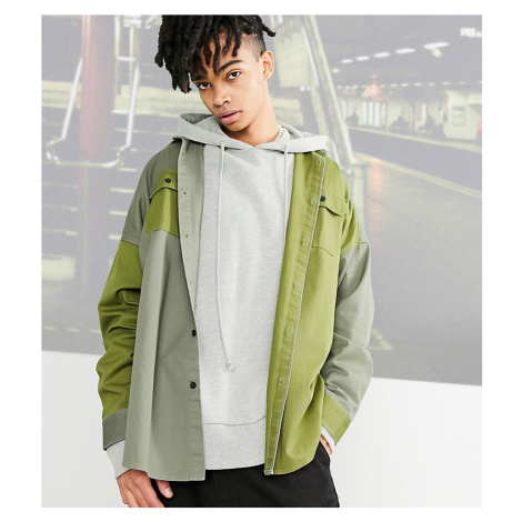 COLLUSION oversized mixed panel shirt in khaki-Brown