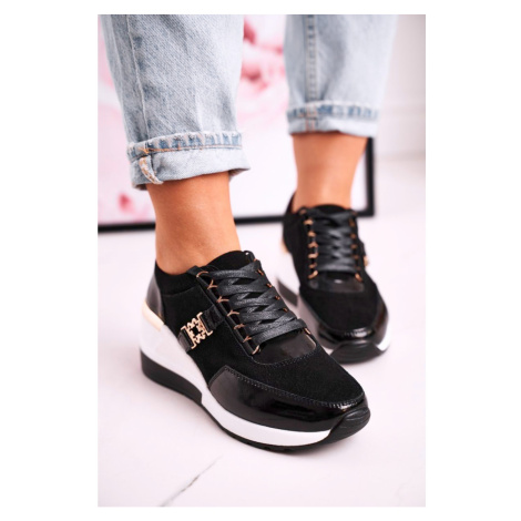 Women's Leather Wedge Sneakers Black Gold Roxette Kesi