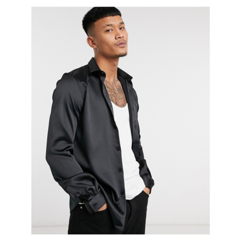 Twisted Tailor skinny satin shirt in black