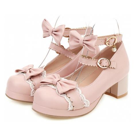 Růžové lodičky s mašli na mini podpatki a páskem kolem kotníku