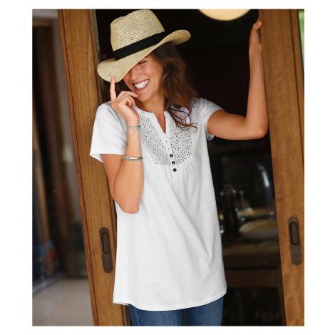 Blancheporte Tričko s knoflíky a anglickou výšivkou bílá