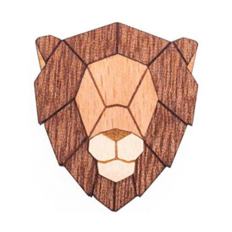 Dřevěná brož Lion Brooch