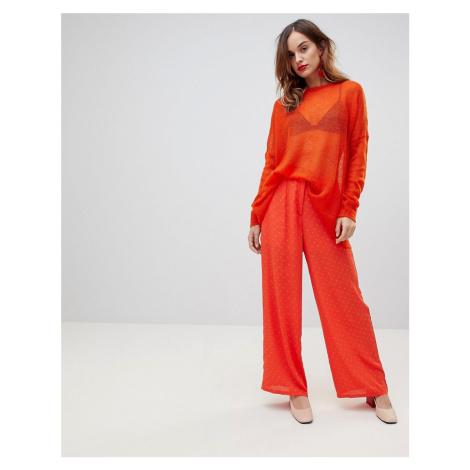 Y.A.S Spot Wide Leg Trouser-Red