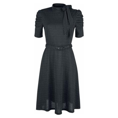 Voodoo Vixen Puntíkované šaty se zavazováním kolem krku Posie Black Šaty černá
