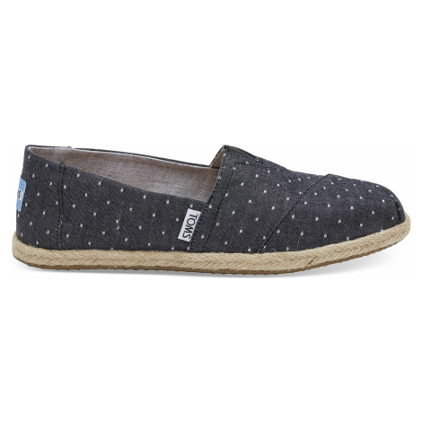 CLASSIC-Black Dot Chambray Rope Sole Toms