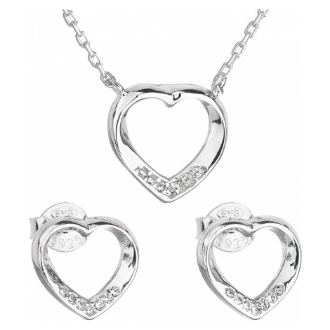 Sada šperků se zirkonem náušnice a náhrdelník bílé srdce 19019.1 Victum