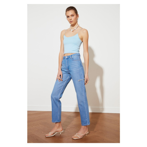 Trendyol High Waist Straight Jeans WITH Blue Ripped DetailING