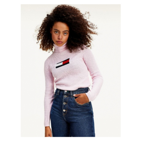 Tommy Hilfiger Tommy Jeans dámský růžový rolák CASHMERE BLEND SLIM