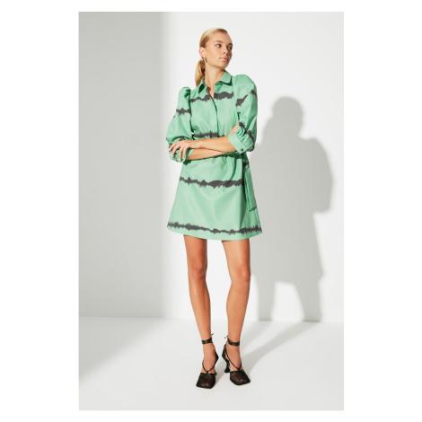 Trendyol Green Belted Balloon Sleeve Dress