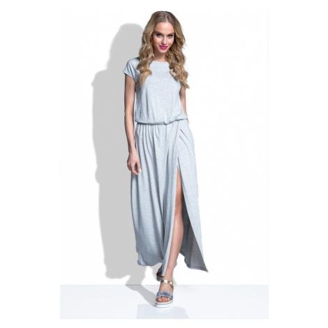 Dámské dlouhé šaty s krátkým rukávem a rozparkem I185 Fimfi