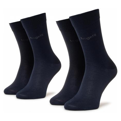 Sada 2 párů pánských vysokých ponožek BUGATTI - 6801 Dark Navy 545