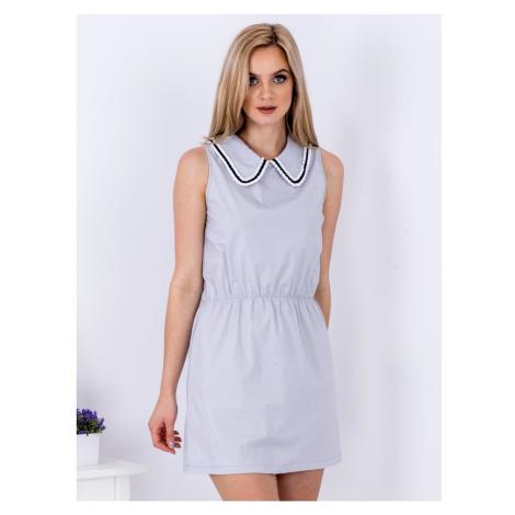 Gray women´s dress with a collar Fashionhunters