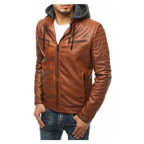 Dstreet Jedinečná koženková bunda v karamelové barvě