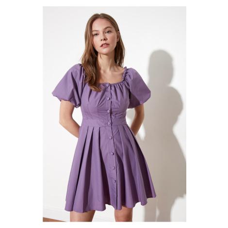 Trendyol Lilac Button Detail Dress