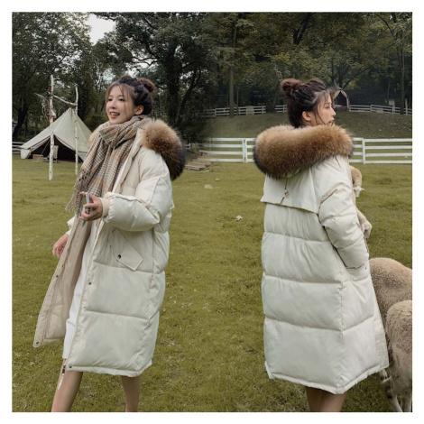 Zimní dlouhá bunda s kapsami zateplená parka s kožešinovým límcem