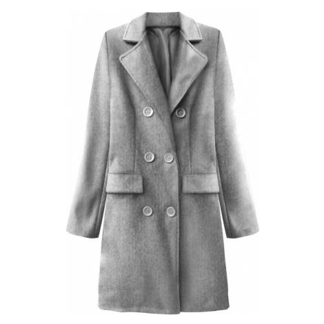 Světle šedý dvouřadový kabát s knoflíky (22791) Made in Italy