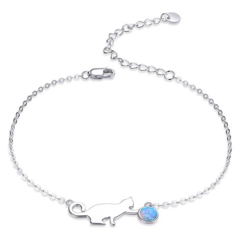 Linda's Jewelry Stříbrný náramek Kočka a Klubíčko s opálem Ag 925/1000 INR099