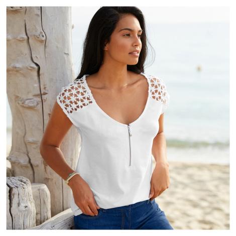 Blancheporte Jednobarevné macramé tričko bílá