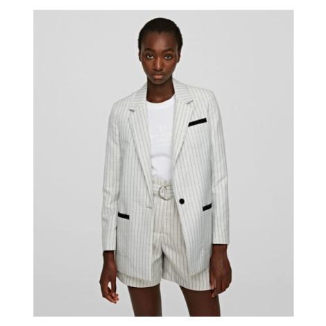 Sako Karl Lagerfeld College Pinstripe Jacket - Bílá