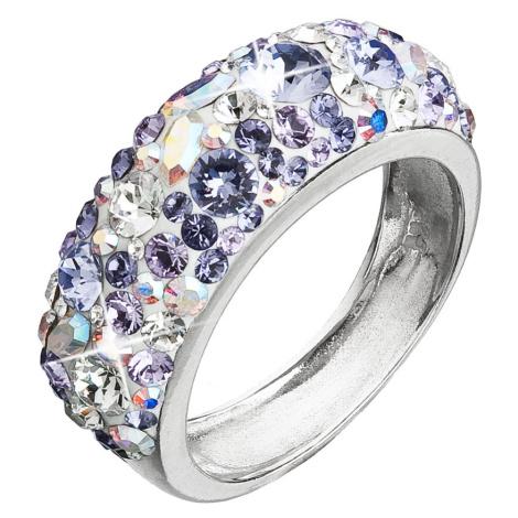 Evolution Group Stříbrný prsten s krystaly Swarovski fialový 35031.3