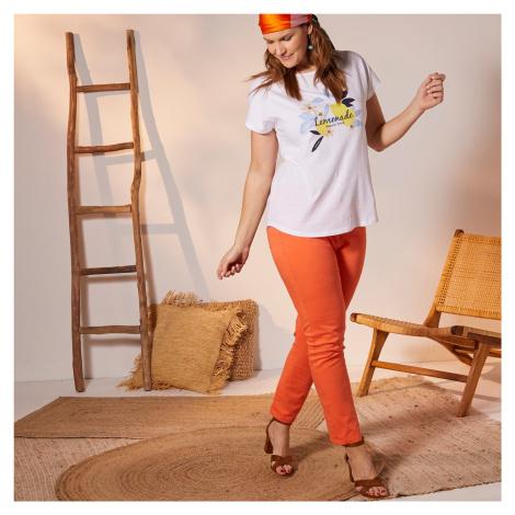 Blancheporte Zkrácené rovné kalhoty oranžová