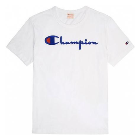TRIKO CHAMPION Script Logo Crew Neck - bílá
