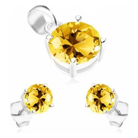 Sada ze stříbra 925, náušnice a přívěsek, kulaté blyštivé zirkony žluté barvy Šperky eshop