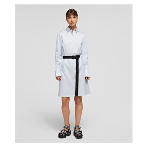 Šaty Karl Lagerfeld Chintz Poplin Shirt Dress - Modrá