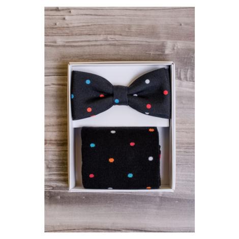 Dárkový set motýlek a ponožky - černá s puntíky Avantgard