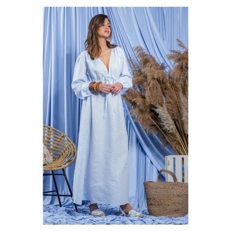 Dámské lněné maxi šaty - modré F1203 Fobya