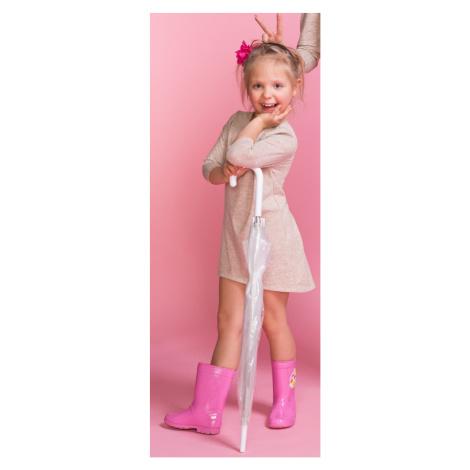 Pletené dětské šaty dívčí s 34 rukávem a delším zadním dílem